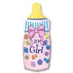 Фольгированный шар (31''/79 см) Фигура, Бутылочка для девочки, Розовый, 1 шт.